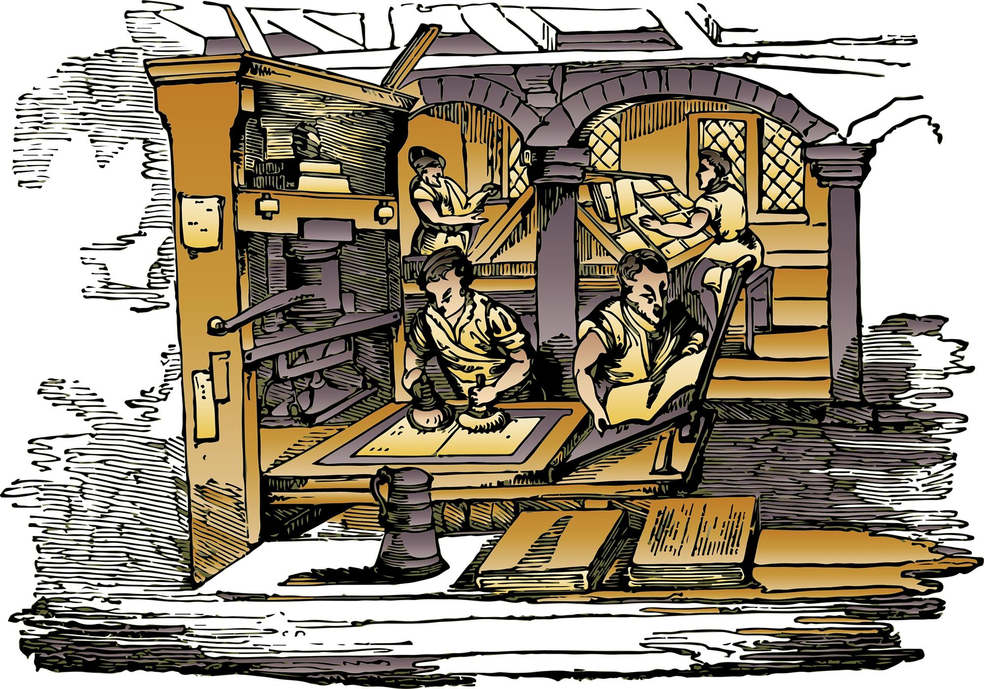 ancient printing press and printers