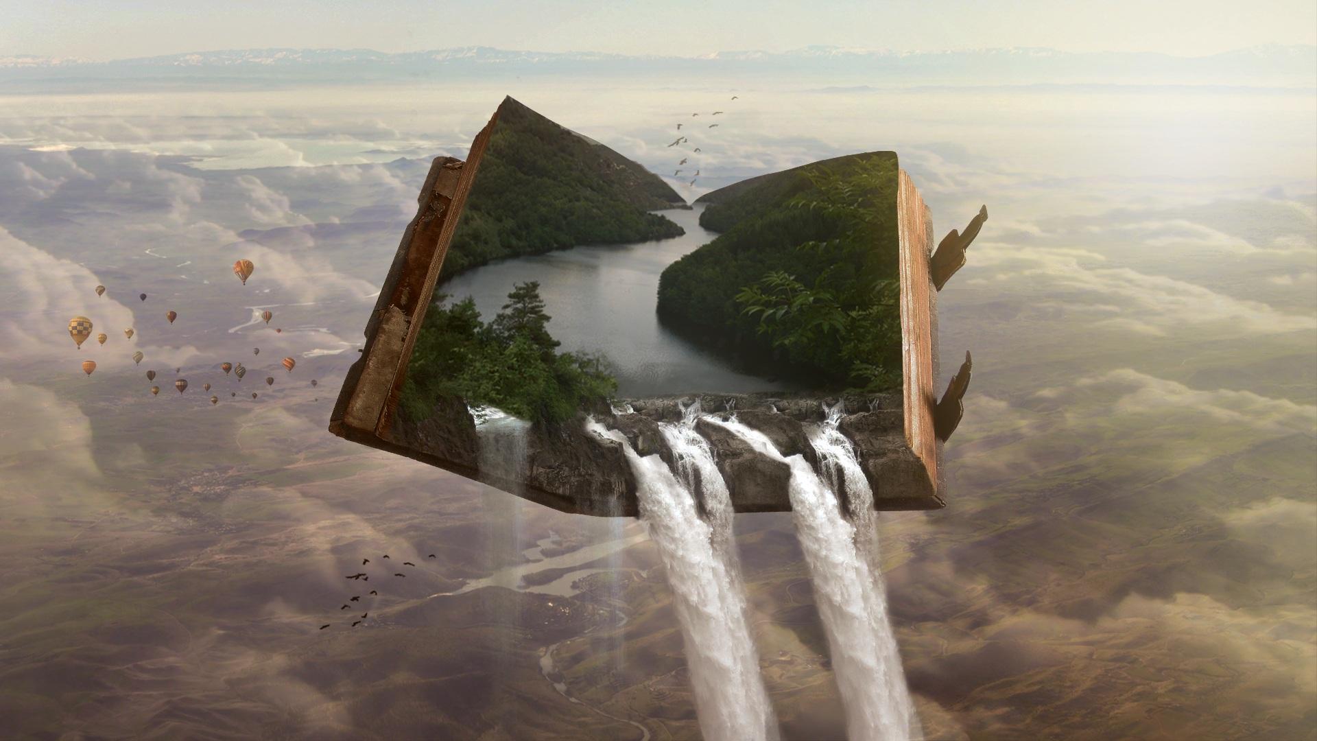 open book showing landscape in 3D